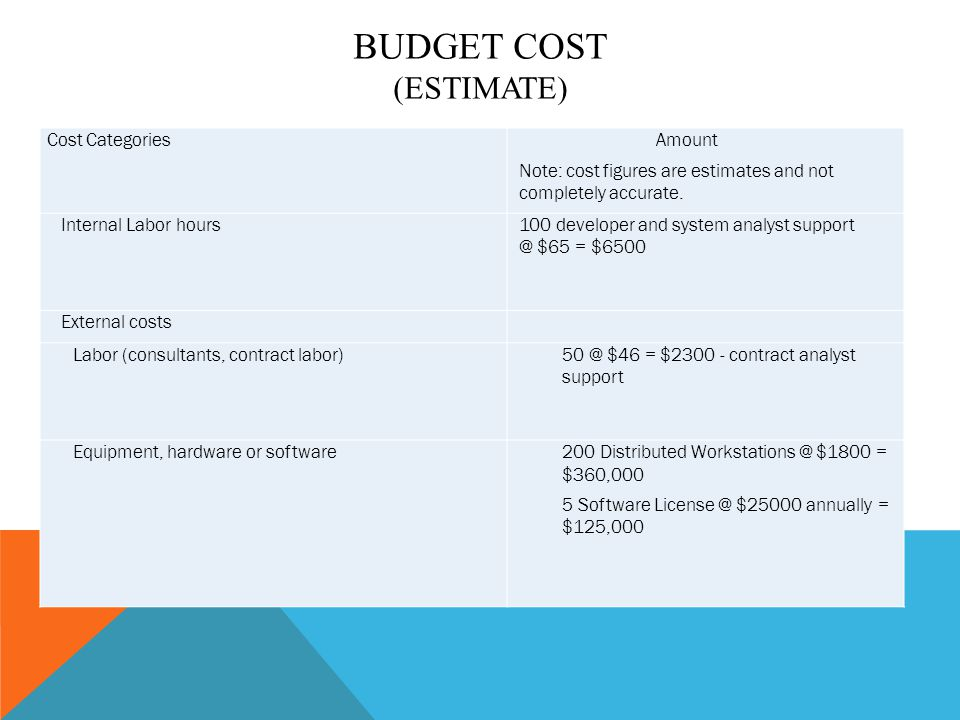 Cost CategoriesAmount Note: cost figures are estimates and not completely accurate. Internal Labor hours100 developer and system analyst support @ $65