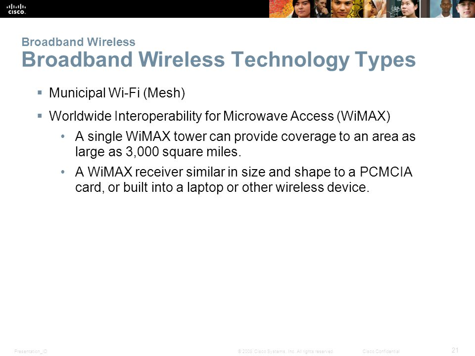 Presentation_ID 21 © 2008 Cisco Systems, Inc. All rights reserved.Cisco Confidential Broadband Wireless Broadband Wireless Technology Types  Municipa