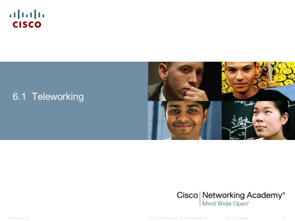 © 2008 Cisco Systems, Inc. All rights reserved.Cisco ConfidentialPresentation_ID 4 6.1 Teleworking