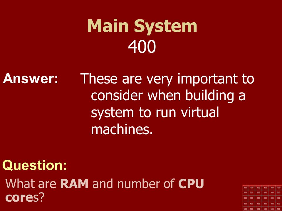 Answer: Question: Main System 300 Cache uses this type of memory to store data frequently needed by the CPU. What is SRAM?