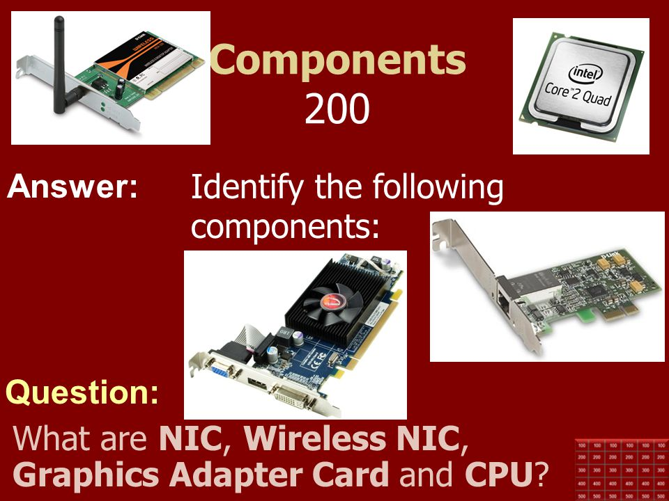 Answer: Question: Components 100 This type of memory retains its contents even when the computer is powered down (non-volatile). What is ROM?