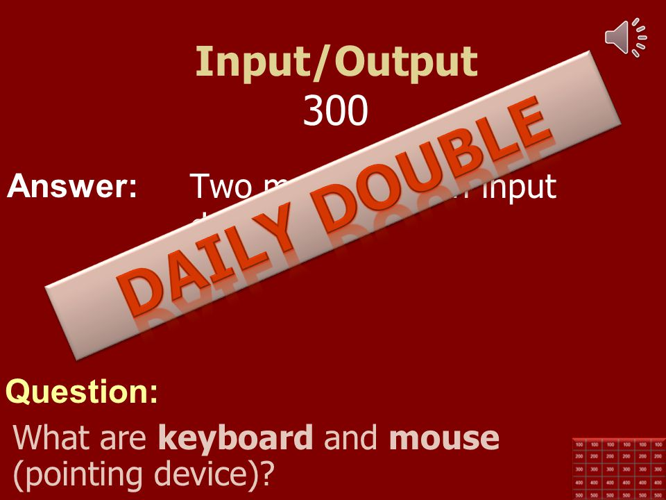 Answer: Question: Input/Output 200 Two most common output devices. What are the monitor and printer?