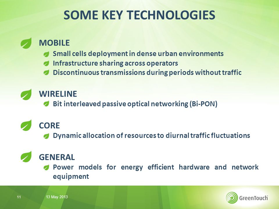 MOBILE Small cells deployment in dense urban environments Infrastructure sharing across operators Discontinuous transmissions during periods without traffic WIRELINE Bit interleaved passive optical networking (Bi-PON) CORE Dynamic allocation of resources to diurnal traffic fluctuations GENERAL Power models for energy efficient hardware and network equipment SOME KEY TECHNOLOGIES 13 May 2013 11