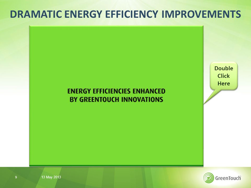 DRAMATIC ENERGY EFFICIENCY IMPROVEMENTS 13 May 2013 10