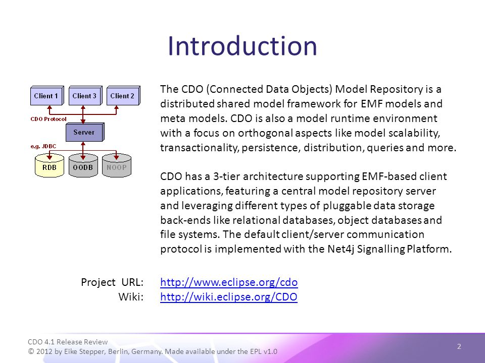 Introduction CDO 4.1 Release Review © 2012 by Eike Stepper, Berlin, Germany.