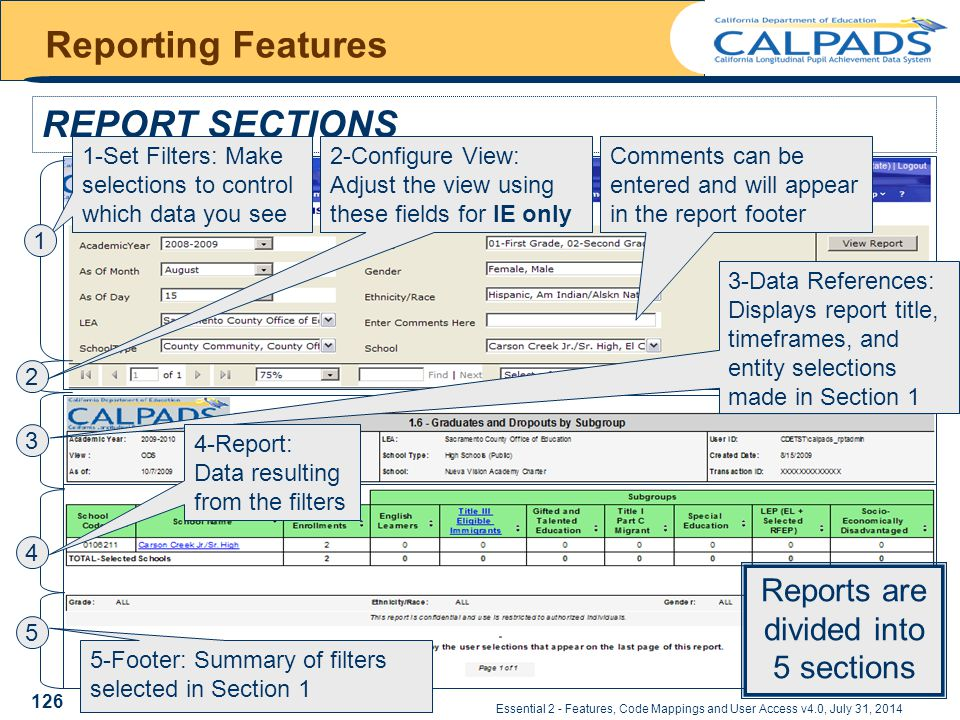 Essential 2 - Features, Code Mappings and User Access v4.0, July 31, 2014 Reporting Features REPORT SECTIONS 1-Set Filters: Make selections to control which data you see Reports are divided into 5 sections 2 3 1 Comments can be entered and will appear in the report footer 2-Configure View: Adjust the view using these fields for IE only 3-Data References: Displays report title, timeframes, and entity selections made in Section 1 4 5 4-Report: Data resulting from the filters 5-Footer: Summary of filters selected in Section 1 126