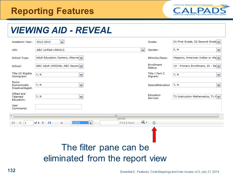 Essential 2 - Features, Code Mappings and User Access v4.0, July 31, 2014 Reporting Features VIEWING AID - REVEAL The filter pane can be eliminated from the report view 132