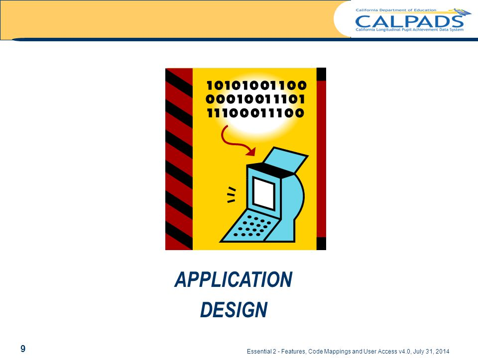 APPLICATION DESIGN Essential 2 - Features, Code Mappings and User Access v4.0, July 31, 2014 9