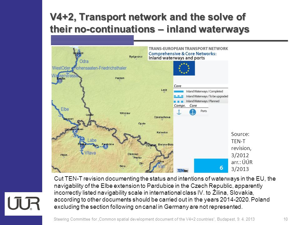 "V4+2, Transport network and the solve of their no-continuations – inland waterways Steering Committee for ""Common spatial development document of the V4+2 countries , Budapest, 9."