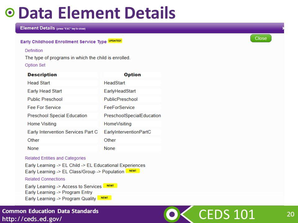 CEDS 101 Common Education Data Standards http://ceds.ed.gov/ 20 Data Element Details