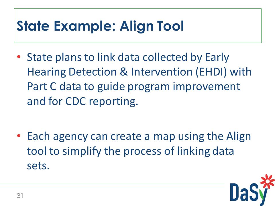 31 State plans to link data collected by Early Hearing Detection & Intervention (EHDI) with Part C data to guide program improvement and for CDC reporting.