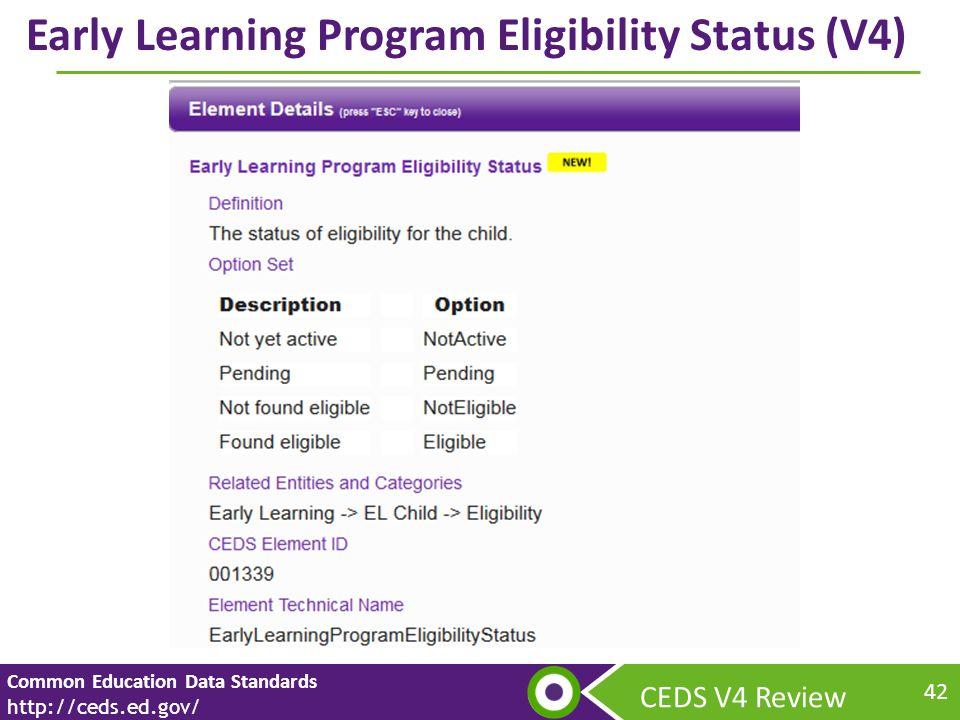 CEDS V4 Review Common Education Data Standards http://ceds.ed.gov/ 42 Early Learning Program Eligibility Status (V4)