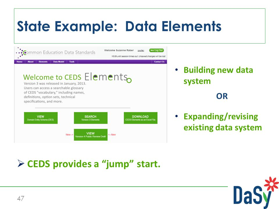 "47  CEDS provides a ""jump"" start. Expanding/revising existing data system OR Building new data system State Example: Data Elements"