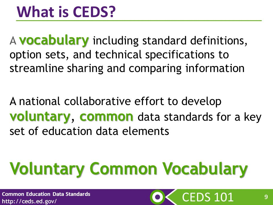 CEDS 101 Common Education Data Standards http://ceds.ed.gov/ 9 vocabulary A vocabulary including standard definitions, option sets, and technical specifications to streamline sharing and comparing information voluntarycommon A national collaborative effort to develop voluntary, common data standards for a key set of education data elements Voluntary Common Vocabulary What is CEDS