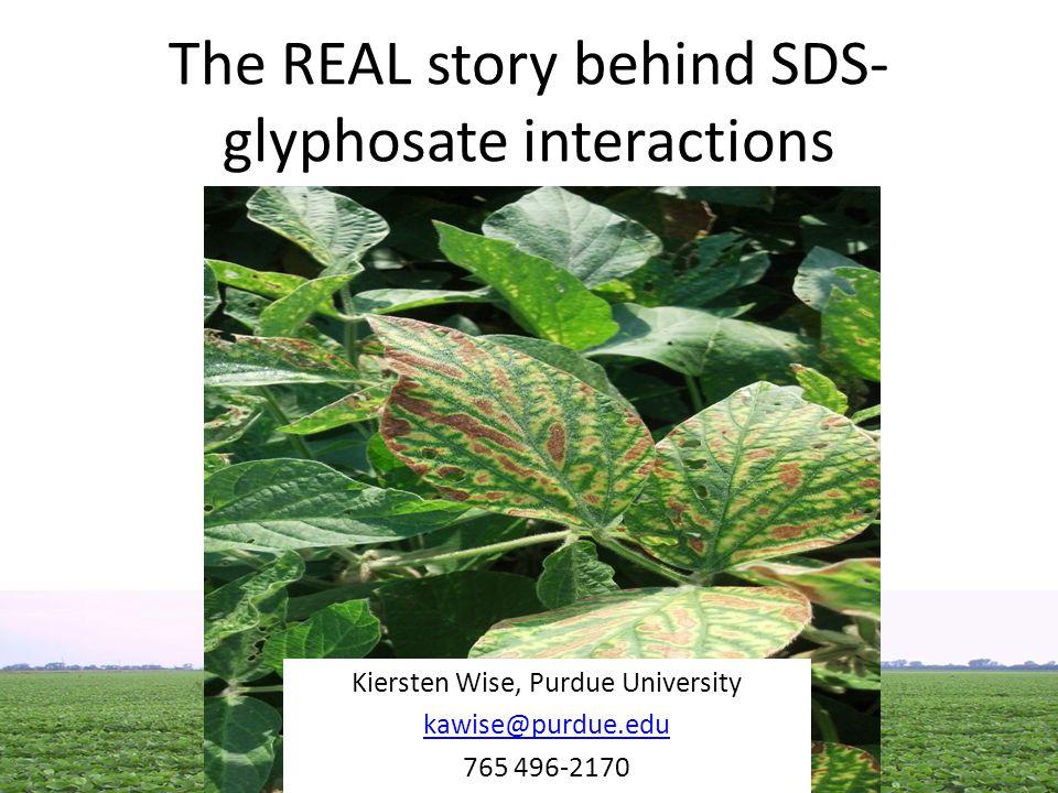 The REAL story behind SDS- glyphosate interactions Kiersten Wise, Purdue University kawise@purdue.edu 765 496-2170