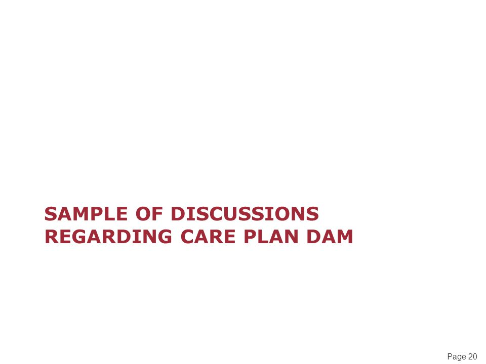 Page 20 SAMPLE OF DISCUSSIONS REGARDING CARE PLAN DAM
