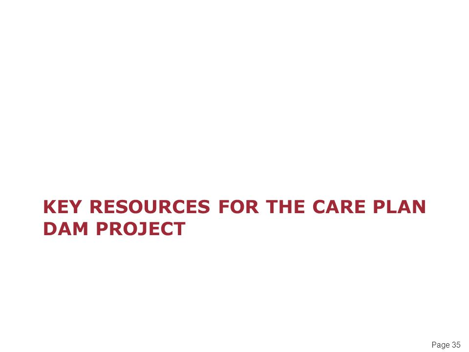 Page 35 KEY RESOURCES FOR THE CARE PLAN DAM PROJECT