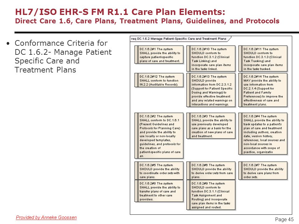 Page 45 HL7/ISO EHR-S FM R1.1 Care Plan Elements: Direct Care 1.6, Care Plans, Treatment Plans, Guidelines, and Protocols Conformance Criteria for DC 1.6.2- Manage Patient Specific Care and Treatment Plans Provided by Anneke Goossen