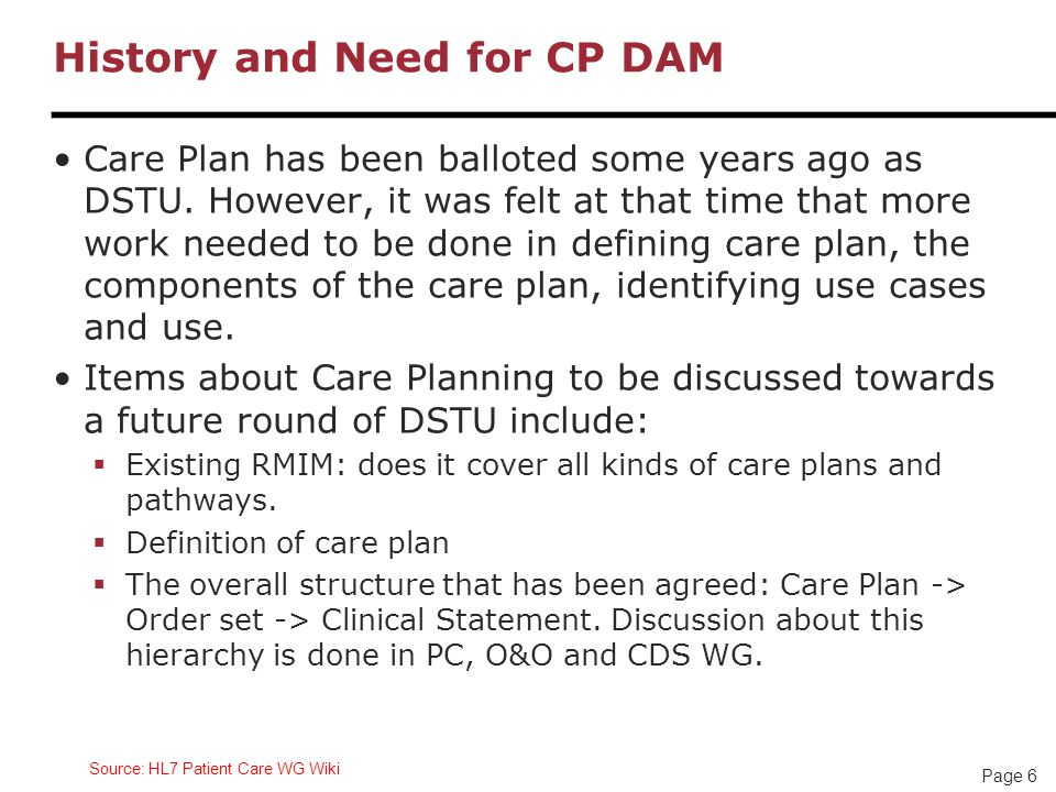 Page 6 History and Need for CP DAM Care Plan has been balloted some years ago as DSTU.