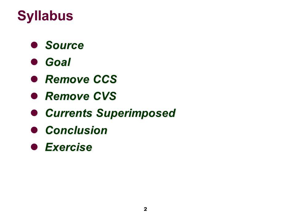 2 Syllabus Source Source Goal Goal Remove CCS Remove CCS Remove CVS Remove CVS Currents Superimposed Currents Superimposed Conclusion Conclusion Exercise Exercise