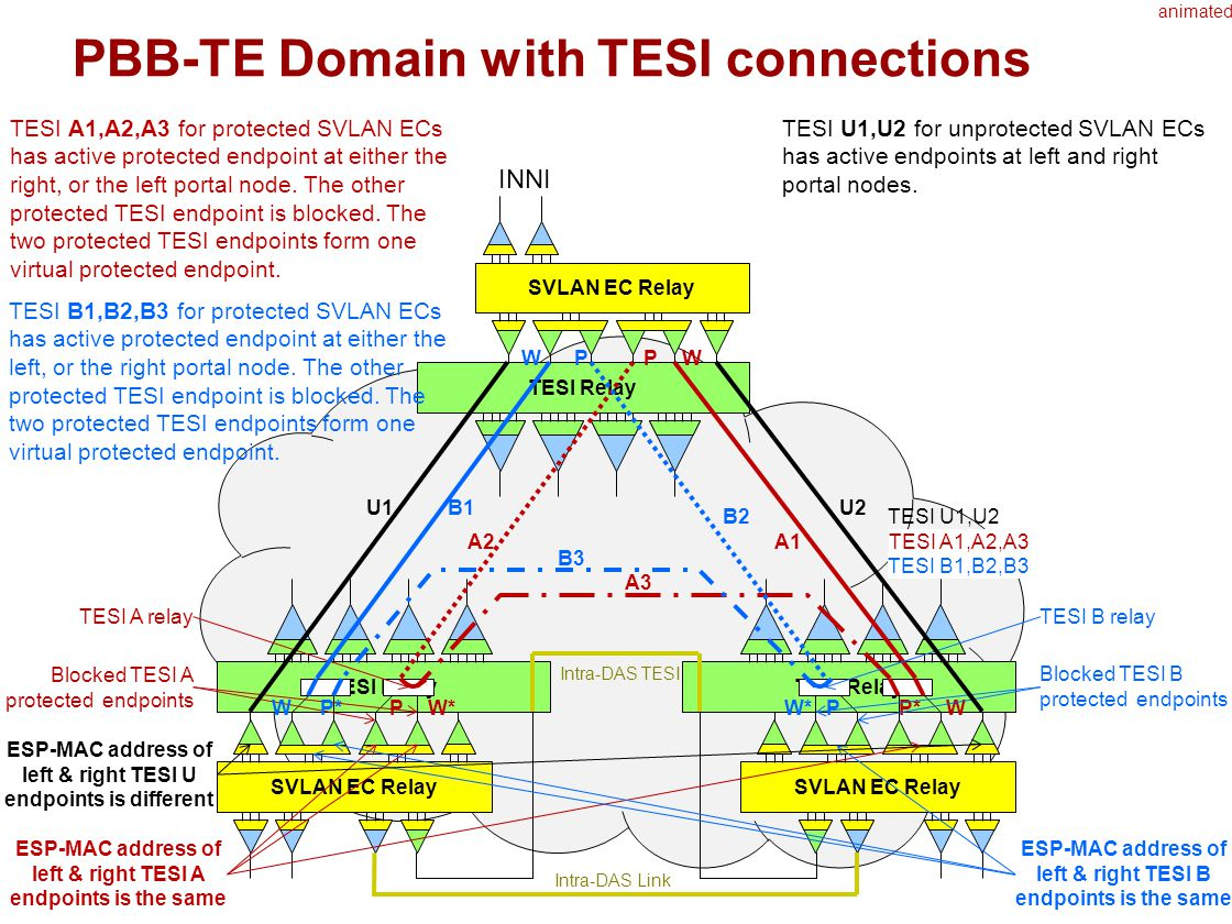 17 PBB-TE Domain with TESI connections TESI Relay SVLAN EC Relay TESI Relay SVLAN EC Relay TESI Relay Intra-DAS TESI Intra-DAS Link INNI SVLAN EC Relay WP W*P WP* TESI A1,A2,A3A1A2 A3 TESI A1,A2,A3 for protected SVLAN ECs has active protected endpoint at either the right, or the left portal node.