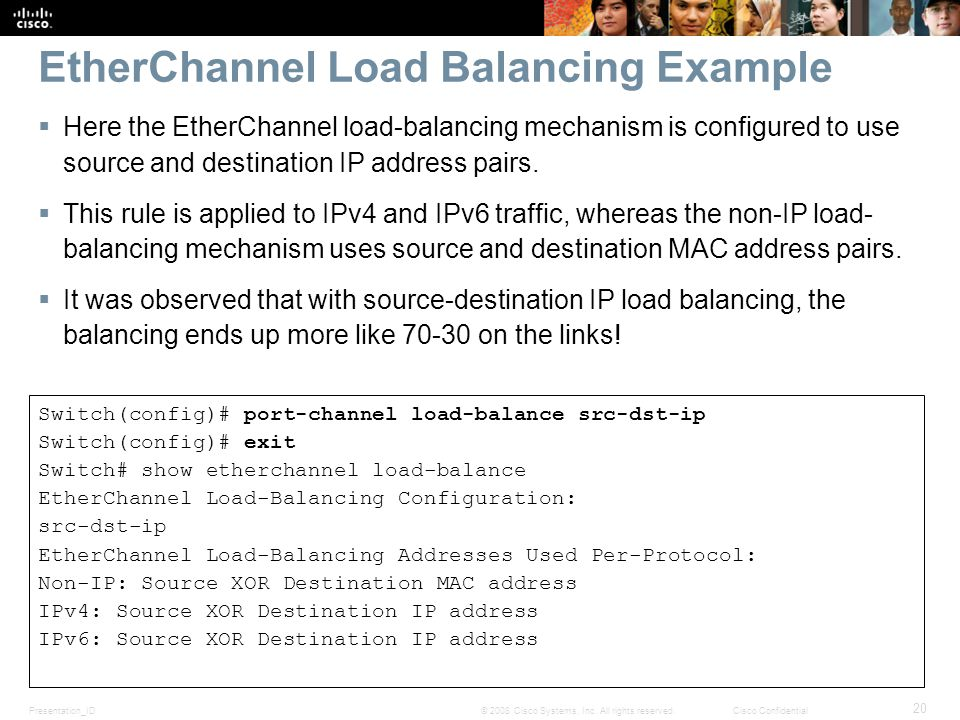 Presentation_ID 20 © 2008 Cisco Systems, Inc. All rights reserved.Cisco Confidential EtherChannel Load Balancing Example  Here the EtherChannel load-