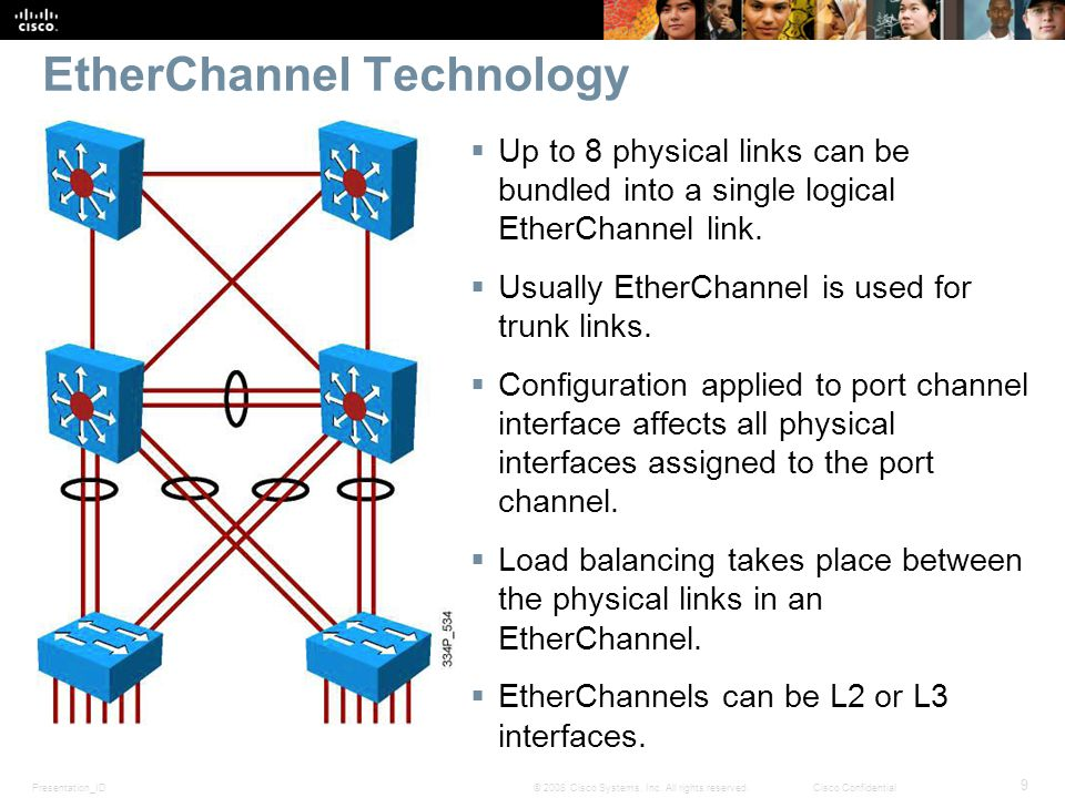Presentation_ID 9 © 2008 Cisco Systems, Inc. All rights reserved.Cisco Confidential EtherChannel Technology  Up to 8 physical links can be bundled in
