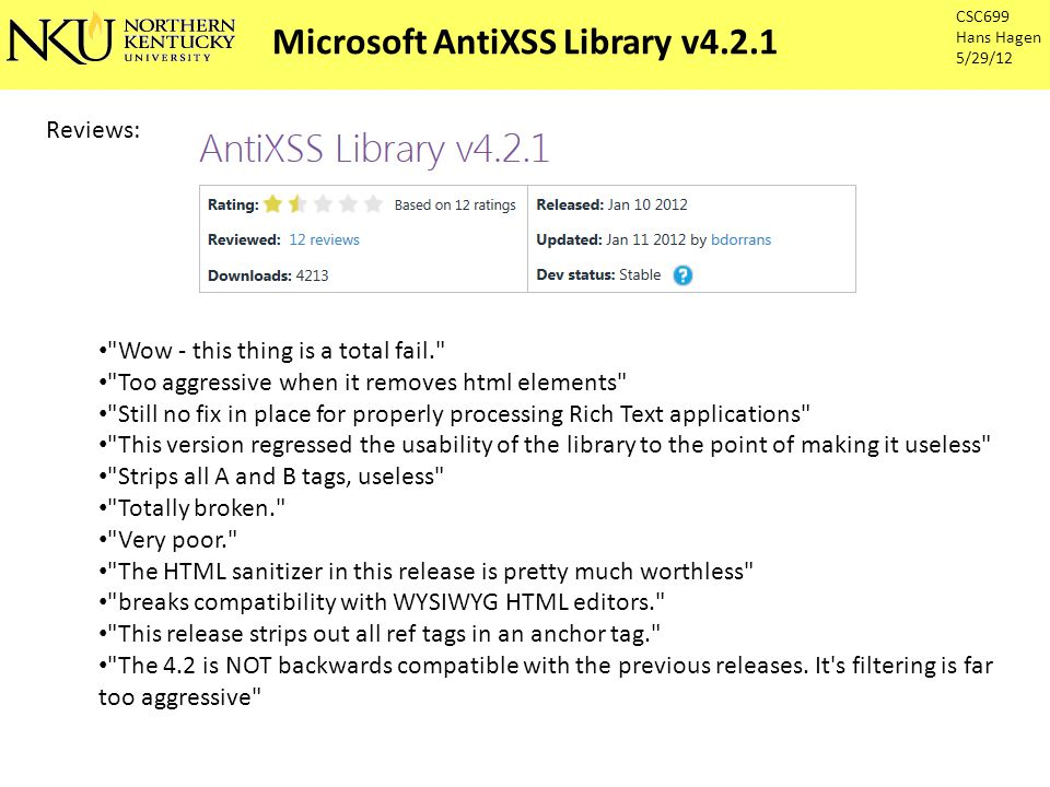 The well spun lies: The Microsoft Web Protection Library (WPL) is a set of.NET assemblies which will help you protect your web sites, current, future and past. White Lists: AntiXSS differs from the standard.NET framework encoding by using a white list approach.