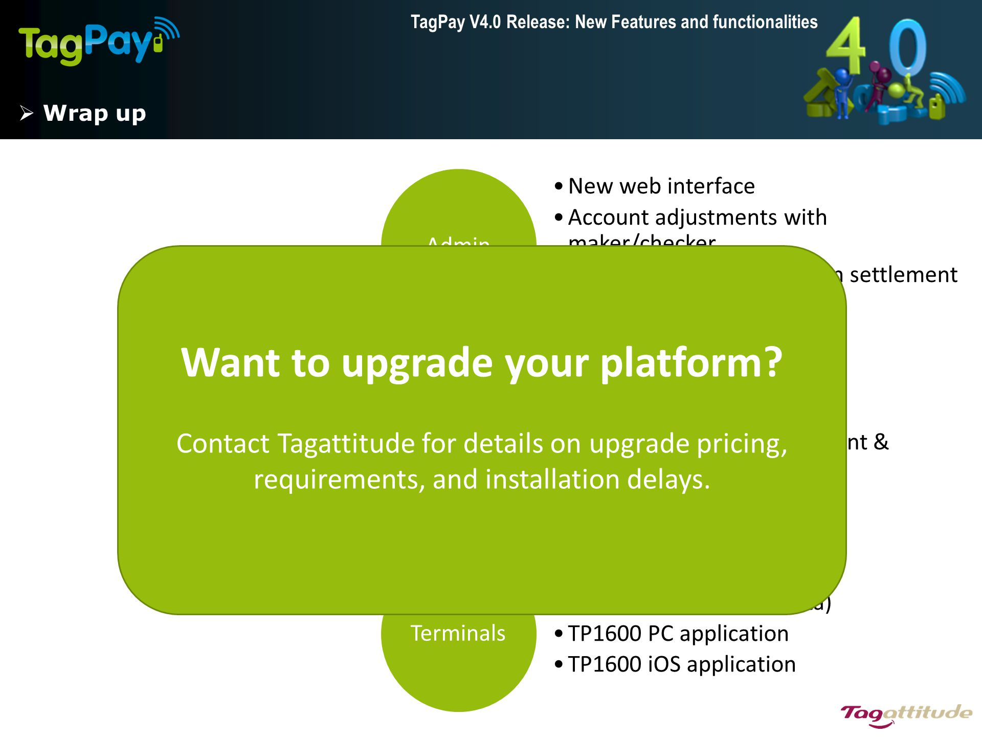 TagPay V4.0 Release: New Features and functionalities  Wrap up Admin New web interface Account adjustments with maker/checker Batch invoice generatio