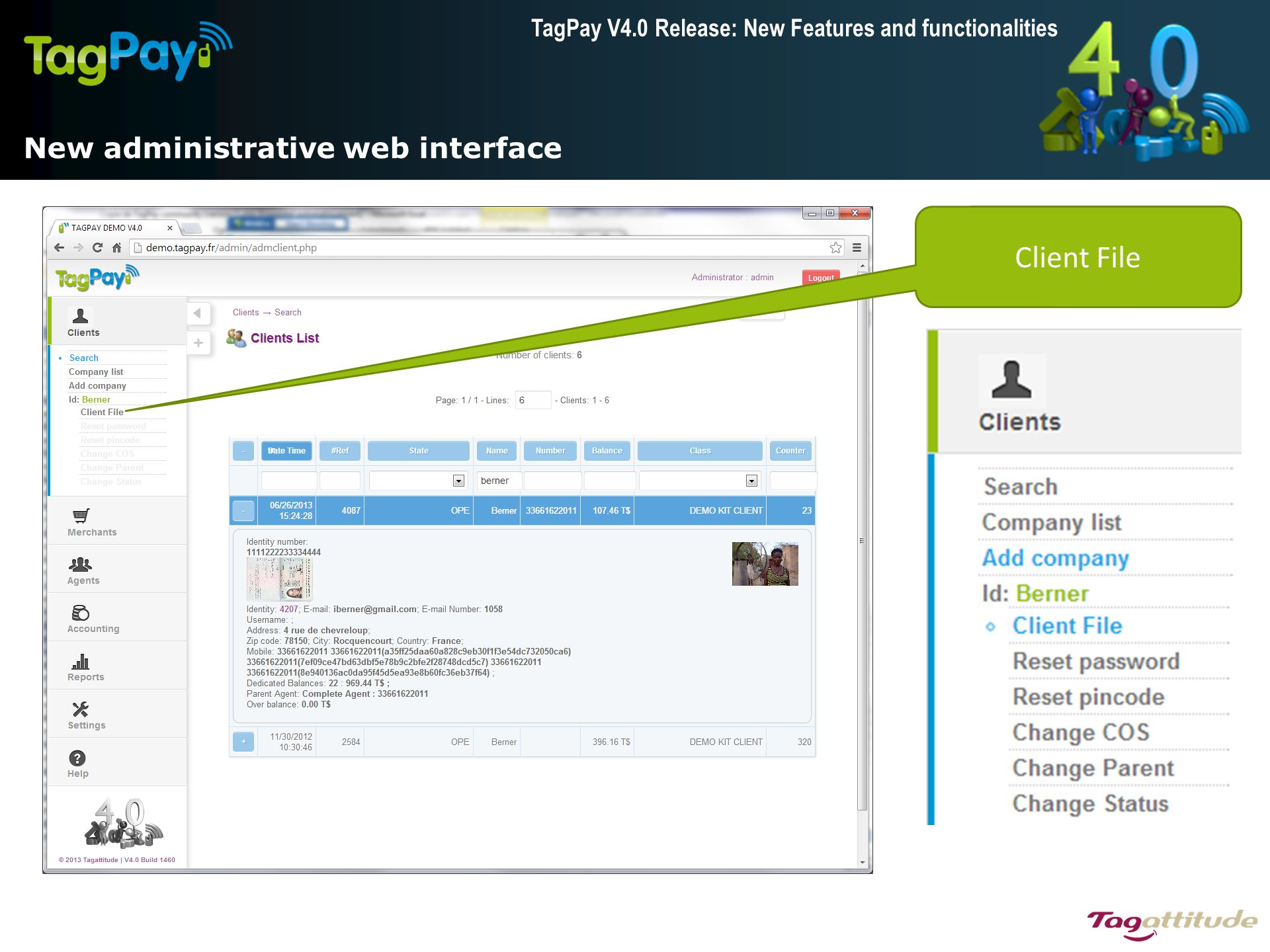 TagPay V4.0 Release: New Features and functionalities  Wrap up Admin New web interface Account adjustments with maker/checker Batch invoice generation on settlement Enhanced velocity checking Merchant/ Agent Merchant groups Agent float management & hierarchy Terminals TP1600 for Ingenico (Beta) TP1600 PC application TP1600 iOS application Want to upgrade your platform.