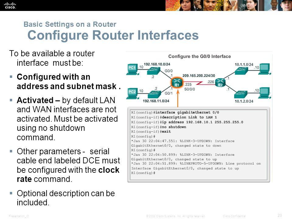 Presentation_ID 20 © 2008 Cisco Systems, Inc. All rights reserved.Cisco Confidential To be available a router interface must be:  Configured with an