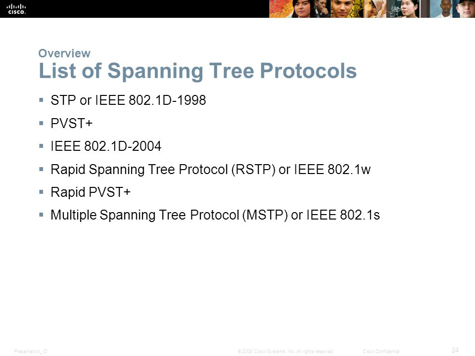 Presentation_ID 24 © 2008 Cisco Systems, Inc. All rights reserved.Cisco Confidential Overview List of Spanning Tree Protocols  STP or IEEE 802.1D-199