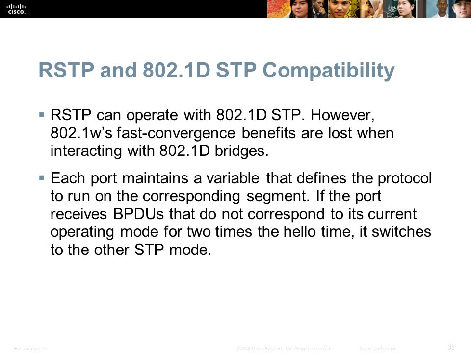 Presentation_ID 38 © 2008 Cisco Systems, Inc. All rights reserved.Cisco Confidential RSTP and 802.1D STP Compatibility  RSTP can operate with 802.1D