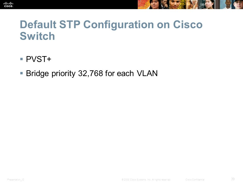Presentation_ID 39 © 2008 Cisco Systems, Inc. All rights reserved.Cisco Confidential Default STP Configuration on Cisco Switch  PVST+  Bridge priori