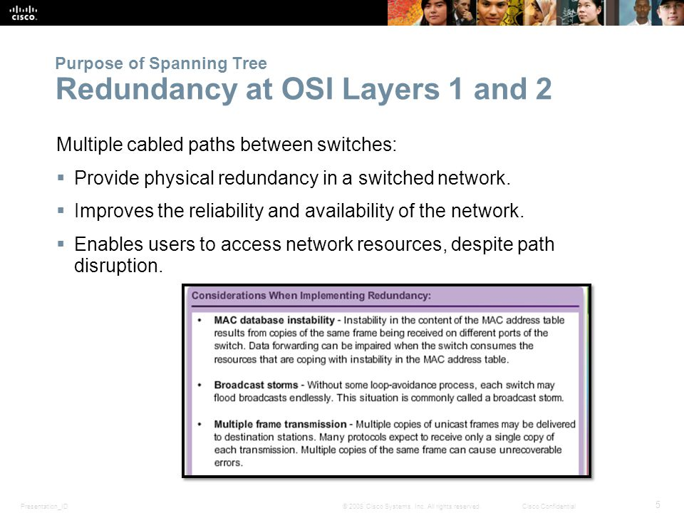 Presentation_ID 5 © 2008 Cisco Systems, Inc. All rights reserved.Cisco Confidential Purpose of Spanning Tree Redundancy at OSI Layers 1 and 2 Multiple