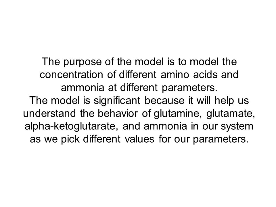 The purpose of the model is to model the concentration of different amino acids and ammonia at different parameters.