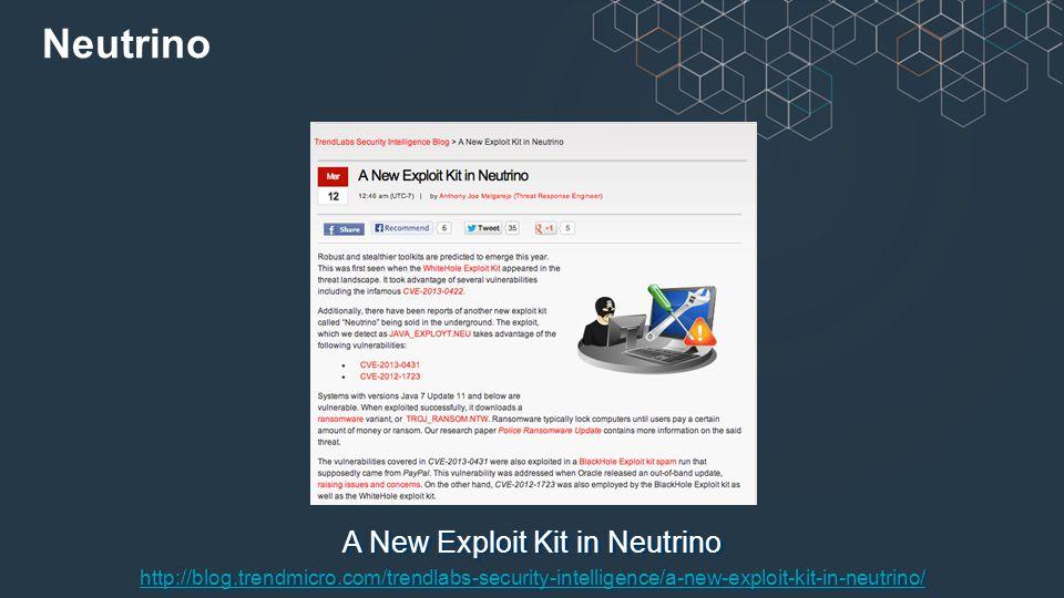 A New Exploit Kit in Neutrino http://blog.trendmicro.com/trendlabs-security-intelligence/a-new-exploit-kit-in-neutrino/ Neutrino
