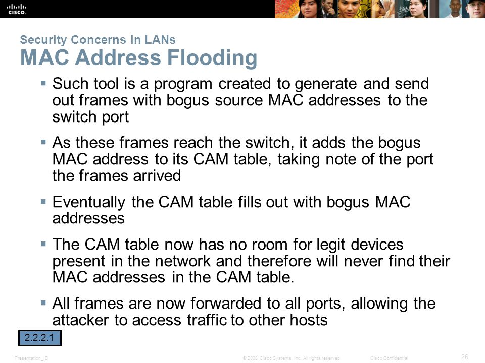 Presentation_ID 26 © 2008 Cisco Systems, Inc. All rights reserved.Cisco Confidential Security Concerns in LANs MAC Address Flooding  Such tool is a p