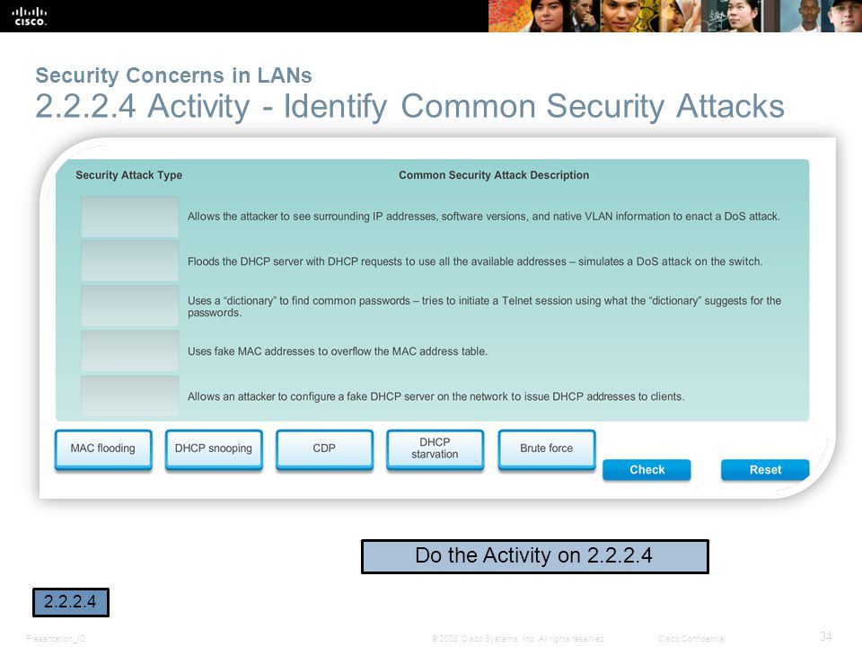 Presentation_ID 34 © 2008 Cisco Systems, Inc. All rights reserved.Cisco Confidential Security Concerns in LANs 2.2.2.4 Activity - Identify Common Secu