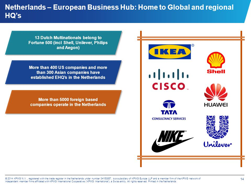 14 © 2014 KPMG N.V., registered with the trade register in the Netherlands under number 34153857, is a subsidiary of KPMG Europe LLP and a member firm