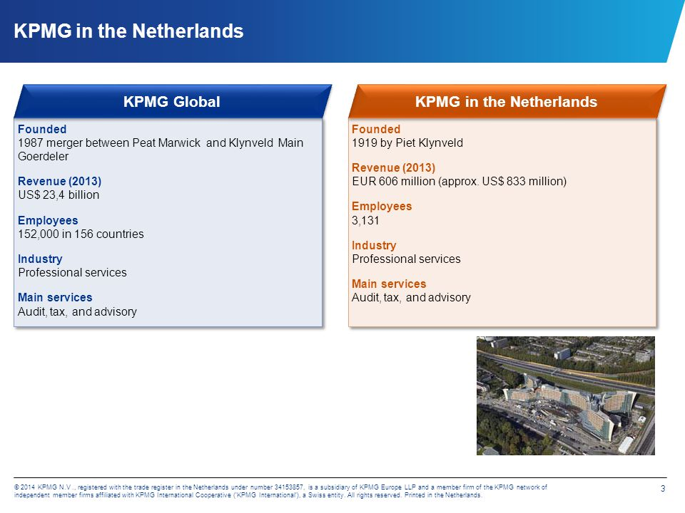 14 © 2014 KPMG N.V., registered with the trade register in the Netherlands under number 34153857, is a subsidiary of KPMG Europe LLP and a member firm of the KPMG network of independent member firms affiliated with KPMG International Cooperative ('KPMG International'), a Swiss entity.