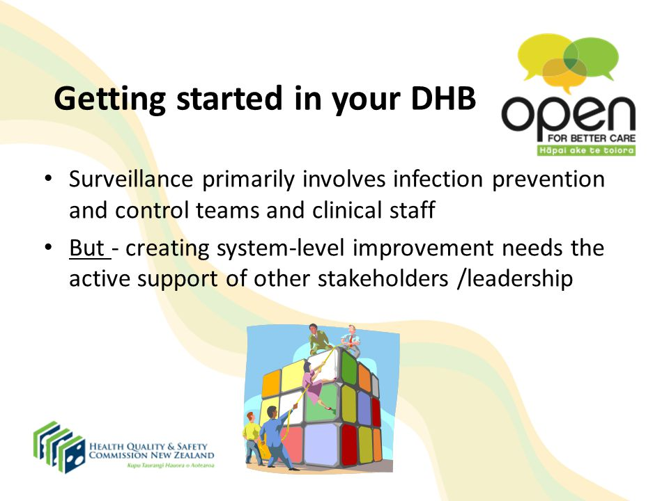 Getting started in your DHB Surveillance primarily involves infection prevention and control teams and clinical staff But - creating system-level impr