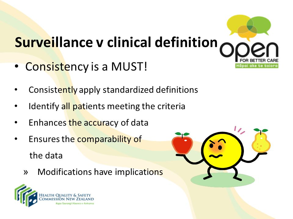 Surveillance v clinical definition Consistency is a MUST! Consistently apply standardized definitions Identify all patients meeting the criteria Enhan