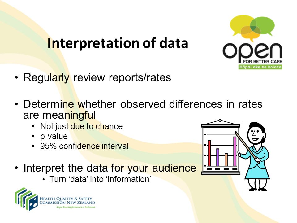 Interpretation of data Regularly review reports/rates Determine whether observed differences in rates are meaningful Not just due to chance p-value 95