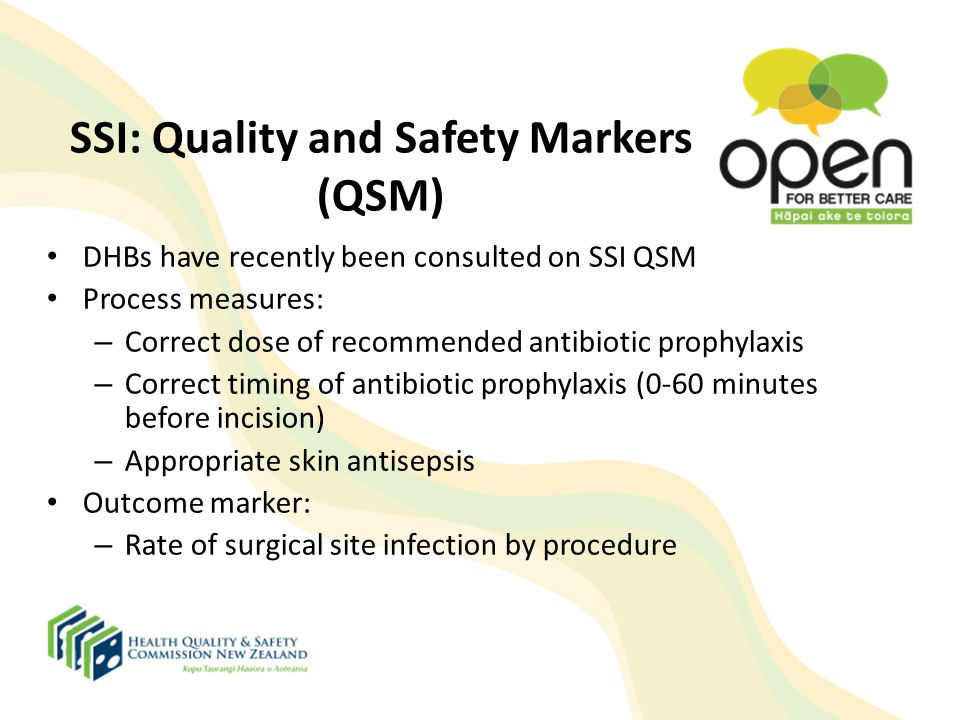 SSI: Quality and Safety Markers (QSM) DHBs have recently been consulted on SSI QSM Process measures: – Correct dose of recommended antibiotic prophyla