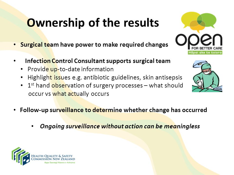 Ownership of the results Surgical team have power to make required changes Infection Control Consultant supports surgical team Provide up-to-date info