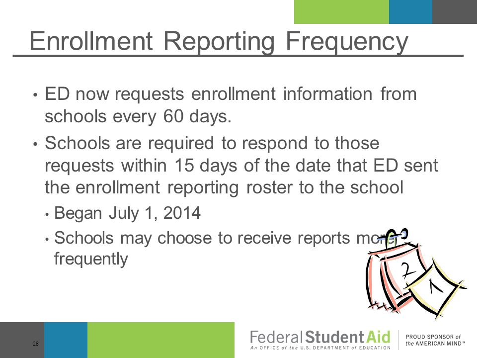Enrollment Reporting Frequency ED now requests enrollment information from schools every 60 days.