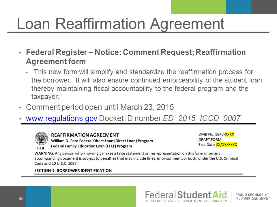 Loan Reaffirmation Agreement Federal Register – Notice: Comment Request; Reaffirmation Agreement form This new form will simplify and standardize the reaffirmation process for the borrower.