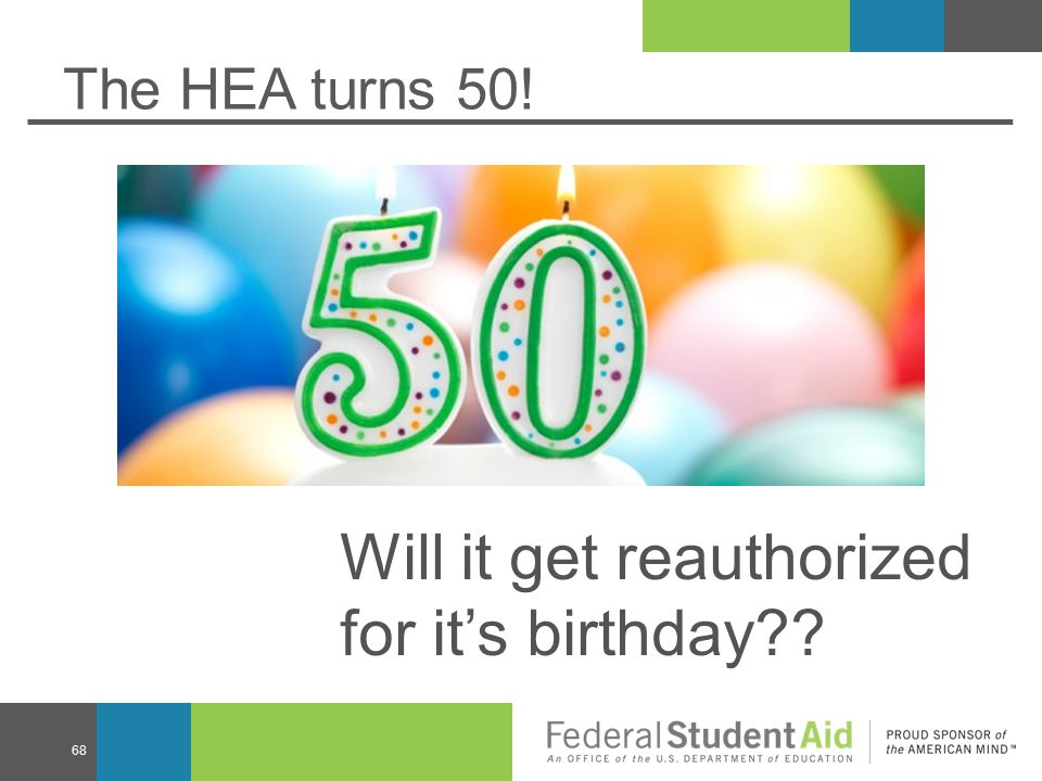 The HEA turns 50! 68 Will it get reauthorized for it's birthday??