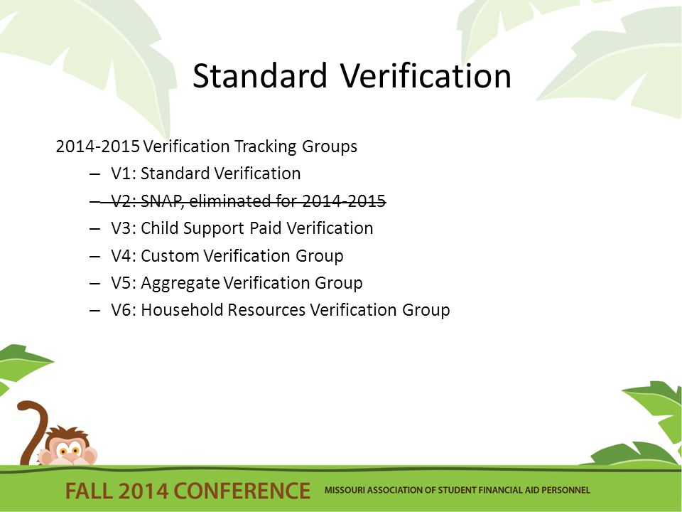 Standard Verification 2014-2015 Verification Tracking Groups – V1: Standard Verification – V2: SNAP, eliminated for 2014-2015 – V3: Child Support Paid Verification – V4: Custom Verification Group – V5: Aggregate Verification Group – V6: Household Resources Verification Group